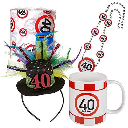 Preis am Stiel Geschenkset Happy Birthday ''40'' Toilettenpapier Haarreifen Halskette Tasse | 40. Geburtstag | Geburtstagsset