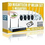 DVS Germany 160026 - Sistema completo di videosorveglianza WLAN, 5 Megapixel, con disco rigido da 4000 GB