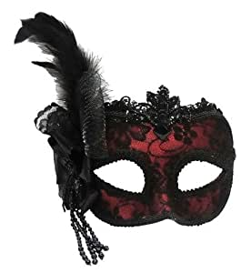 LADIES QUALITY BURLESQUE RED WITH BLACK LACE & FEATHERS VENETIAN MASQUERADE CARNIVAL PARTY EYE MASK ON HEADBAND