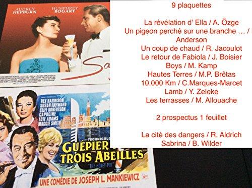 9 plaquettes & 2 prospectus cinma : A. zge - R. Anderson - R. Jacoulot - J. Boisier - M. Kamp - M.P. Brtas - C.Marques Marcet -Lamb - Y. Zeleke - M. Allouache - R. Aldrich - B. Wilder