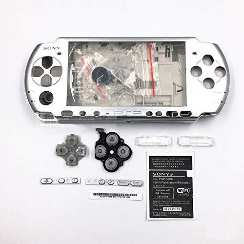 Gehäuse Gehäuse Abdeckung Full Shell Tasten für Sony PSP 3000 Set von Zubehör (Silber)