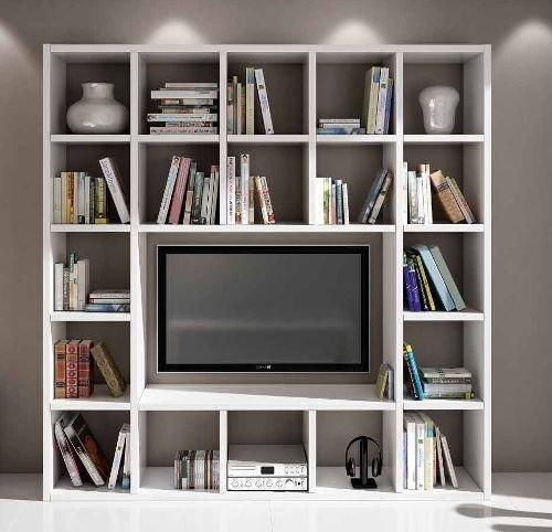 Legno&Design Easyfurn Cadre Porte TV Bibliothèque séjour Blanc frassinato 20 éléments