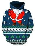 Leapparel hässlich Hoodie Pullover 3D Santa Claus Snowflake Grafik Print Ideal Pullover Sweatshirt Weihnachtsgeschenk für Jungen und Mädchen