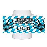 Lustiger Bierkrug mit Namen Martin und schönem Motiv Finger weg! Dieses Bier gehört Martin | Bier-Humpen | Bier-Seidel