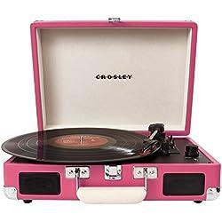 Crosley Cruiser - Tocadiscos de vinilo portátil (3 velocidades, altavoces estéreo integrados, con enchufe), color rosa