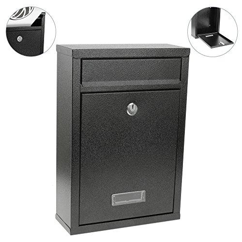 Boîte aux lettres métallique coloré noir pour mur 215 x 82 x 315 mm