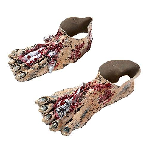 Amakando Monster Schuhstulpen Gruselige Zombie Füße Ungeheuer Überschuhe Bestie Frankenstein Schuhüberzieher Halloween Kostüm Accessoires Horror Verkleidung - Monster Fuß Kostüm