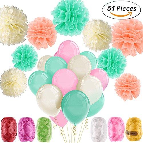 51pcs Party Decor Kit, 9 Pom Poms de papel, 36 Globos de látex, 6 Roll Ribbon,...