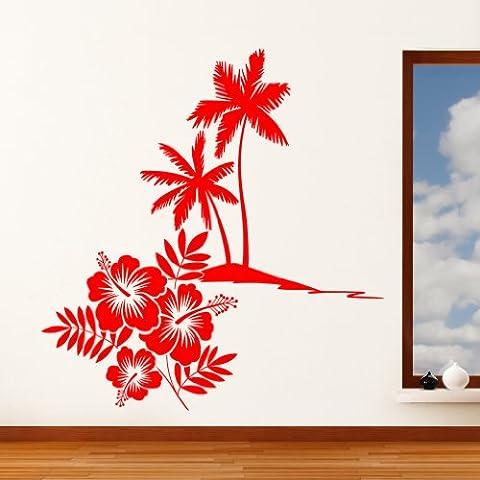 Paradise Island ibisco fiori e palme–Adesivo da parete Art Adesivi, facile da applicare, Applicatore gratuito, facili da rimuovere–Scatole (si prega di scegliere la misura e il colore), by Rubybloom Designs, blu scuro, Medium 86cm x 90cm