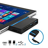 Eletrand USB 3.0 HUB mit SD/TF Kartenleser Combo Adapter für Microsoft Surface Pro 3 (12.3), Surface Pro 4, New Surface Pro 2017︱Unterstützung 2 TF Karten + 1 SD Karten + 3 USB Ports - Schwarz