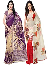 Anand Sarees Women's MULTI COLORED GEORGETTE PRINTED SAREES (COMBO PACK)