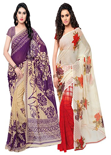 ANAND SAREES MULTI COLORED GEORGETTE PRINTED SAREES (COMBO PACK)  available at amazon for Rs.599