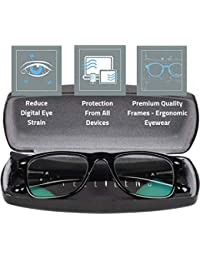 Intellilens® Premium Blue Cut Zero Power Wayfarer Spectacles with Anti-glare for Eye Protection from UV by Computer Tablet Laptop Mobile (Unisex)