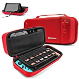 tomtoc Nintendo Switch Case, Étui de Protection Rigide Hardshell Housse de Transport pour Console Nintendo Switch et Accessoires, avec Poignée, 18 Cartouches de Jeu, Rouge
