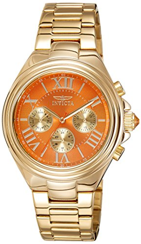 Festina–Reloj analógico de pulsera para mujer ángel 40mm tono dorado correa de acero y carcasa cuarzo naranja esfera analógica reloj 18749