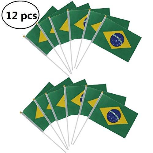 ebtoys 12Mini Flaggen handwaving Flagge Brasilien Brazilian Nationalflaggen Hand Waving Flaggen