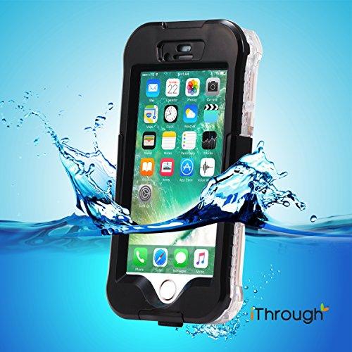Wasserdichte Hülle für iPhone 7 Plus, iThrough® Wasserdichte hülle für iPhone 7 Plus Waterproof Case, Staubdichte, Schneedichte, Stoßfeste, Schwerlaste Schutzhülle für iPhone 7 Plus, 5.5 Zoll Schwarz-3