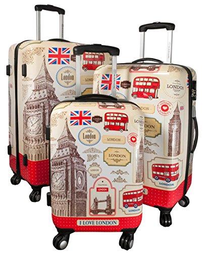 Kofferset Gepäckset Polycarbonat ABS Hartschalen Koffer 3tlg. Set Trolley Reisekoffer Reisetrolley Handgepäck Boardcase PM (I Love London)