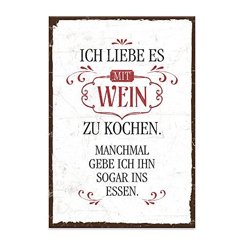 TypeStoff Holzschild mit Spruch – Ich Liebe ES, mit Wein ZU Kochen – im Vintage-Look mit Zitat als Geschenk und Dekoration Zum Thema Küche, Zubereitung, Essen und Mahlzeit (M - 19,5 x 28,2 cm)