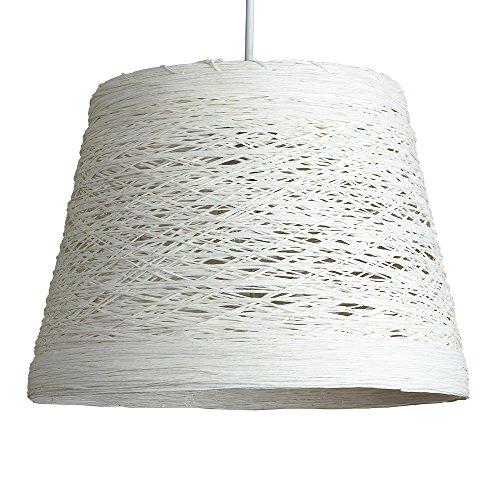 MiniSun – Moderner, kegeliger und weißer Lampenschirm aus Rattan/Korb – für Hänge- und Pendelleuchte