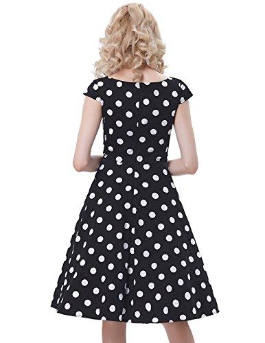 Belle Poque Rockabilly Kleid Damen Festliche Kleider Retro Kleid Knielang Kleid BP292-1(schwarz)