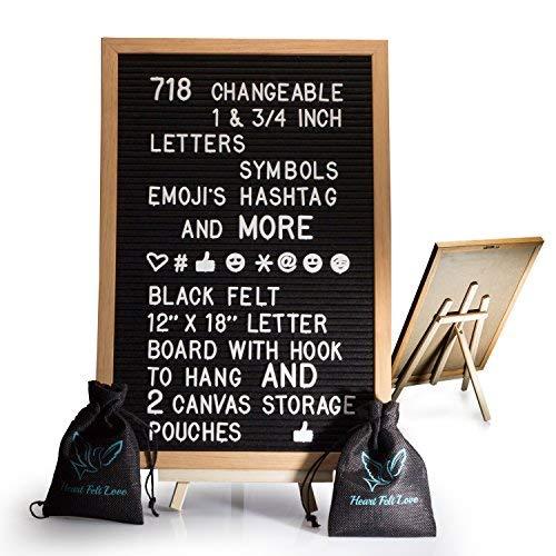 Schwarz Filz Buchstabe Board mit Staffelei 12x 18  718Wechselhafte Zeichen mit 2,5cm und ¾ Buchstaben, Symbole, emojis Hashtag und mehr   Haken zum Aufhängen   2Leinwand Aufbewahrung Beutel -