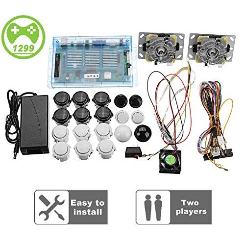 Yang 2 Joysticks DIY Kit Bundle Home Familie Pandora es Box 5S Arcade-Maschine 1299 Spiele Multi-Spiel Arcade-Kabinett DIY Kit Arcade-Stick, VGA HDMI Voller Satz von 2 Spielern (Vga-bundle)