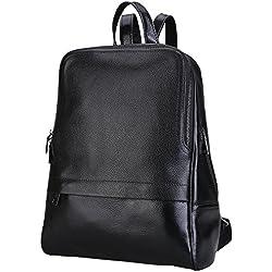 Damero de cuero genuino mochila casual, monedero de las mujeres de escolar, Negro