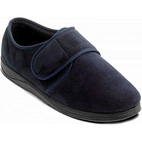Padders CHARLES Mens Microsuede Velcro Wide (G) Fitting Slippers Navy UK 7