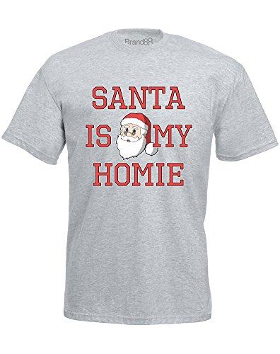 Brand88 - Santa Is My Homie, Mann Gedruckt T-Shirt Grau/Transfer