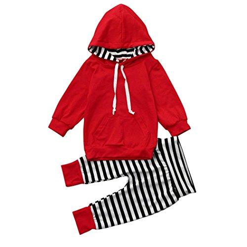 Neugeborene Kleinkind Baby Anziehsachen Hirolan Kinder Lange Ärmel Outfits Mädchen Kapuzenpullover Junge T-Shirt Tops Streifen Lange Hose Baumwolle Kleider Set (80, Rot) (Herren-multi-streifen-polos)