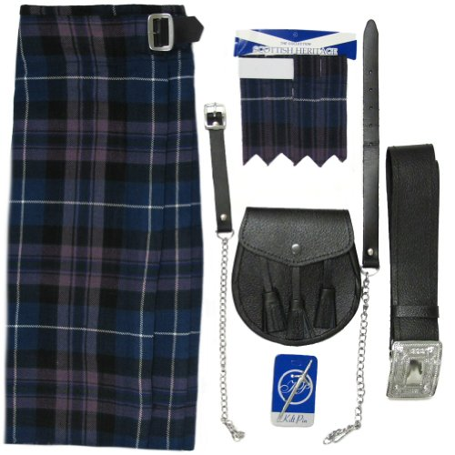 Set Kilt, Sporran, Nadel und Strumpfband im 'Honour of Scotland'-Tartanmuster - UK48 (122 cm)