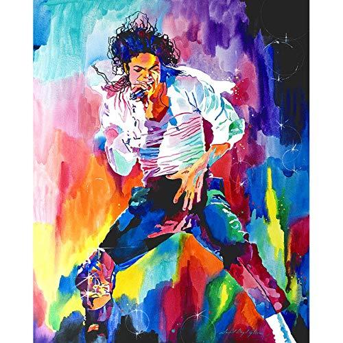Superluckty Leinwand Ölgemälde Berühmte Sterne Michael Jackson Home Decor by Zahlen Malerei Auf Leinwand Kein Rahmen 40x50 cm (Michael Home Jackson Decor)
