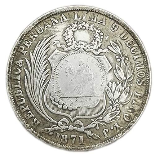 Xinmeitezhubao Distressed weiße Kupfer- und Silbermünzen, 1871 Silberdollar in der Republik Lima, Peru, Sammlung antiker Münzen kann geblasen Werden (Peru Münzen)