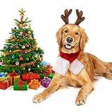 Legendog Weihnachten Haustier Kostüm, Stirnband Set Plüsch Geweih Haustier Hut Haustier Kostüm mit Haustier Schal (Hunde Kostüm Set)