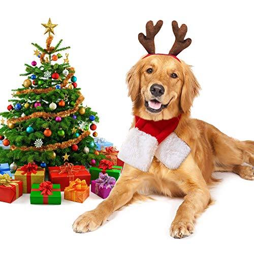 Haustier Kostüm, Stirnband Set Plüsch Geweih Haustier Hut Haustier Kostüm mit Haustier Schal (Hunde Kostüm Set) ()