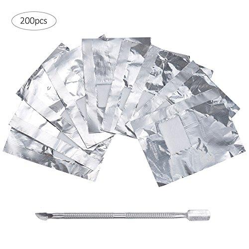 Nagel Lack-entferner (Lictin 200 Stück Polish Remover Wraps Pads und 1 Stück Nagelhaut Schieber, Hilfsmittel zum einfachen entfernen von UV-Lack oder Nagellack)