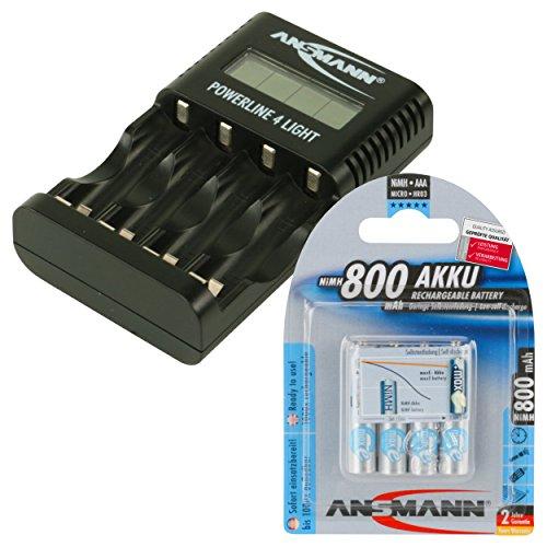 ANSMANN Chargeur Powerline 4 Light / Chargeur léger et compact pour 1 à 4 accumulateurs AA & AAA / Ecran LCD / port USB pour Smartphone, etc. / 4x accumulateurs 800mAh AAA inclus