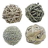 POPETPOP 4 Stücke Gras Weave Ball Kauspielzeug für Kleintier Natürliche Rattan Übungsrolle Zahnpflege Molaren Spielzeug für Hamster Kaninchen