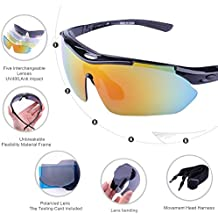 [Nuova versione] Buydaly Occhiali da sole all'aperto con 5 lenti intercambiabili polarizzati moda sport occhiali da sole per bici pesca in esecuzione Guida Golf (nero) - Wiley X Polarizzati