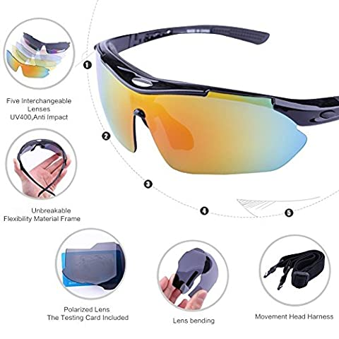 Buydaly Outdoor-Sonnenbrille mit 5 Wechselobjektiv polarisiert Designer-Mode-Sport-Sonnenbrille zum Radfahren Angeln laufen fahren Golf (schwarz) - Tortoise Plastica Occhiali
