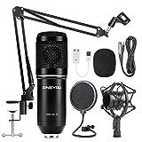 ZINGYOU Microphone à condensateur, kit de microphone d'enregistrement professionnel BM-800 avec bras à ciseaux, suspension réglable, filtre anti-choc et filtre anti-pop