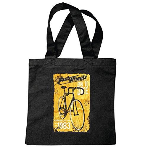 Tasche Umhängetasche Retro Fahrrad - Rennrad - 80er Jahre Bike - Fahrrad Kleidung - Tourenrad Einkaufstasche Schulbeutel Turnbeutel in Schwarz