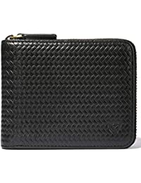 RFID Men's Leather Zipper wallet Zip Around Wallet Bifold Multi Card Holder Purse (Embossing Black)