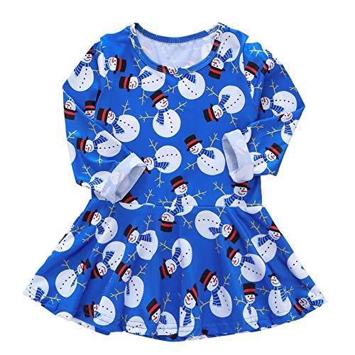 JUNERAIN Baby Mädchen Kleid niedlicher Schneemann Kids Langarm Prinzessin Weihnachten Kostüm, Damen, 80 cm, (12-18M) - Niedliche Schneemann Kostüm