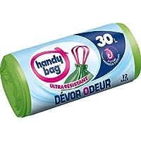 Handy Bag 1 Rouleau de 12 Sacs Poubelle 30 L, Poignees Coulissantes, Devor Odeur, Systeme Absorbeur d'Odeurs, Ultra Resistant, Anti-Fuites, 55 x 63. cm, Vert, Opaque
