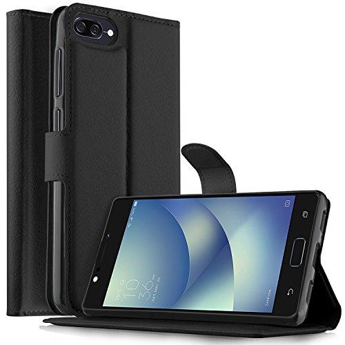 Asus ZenFone 4 Max ZC520KL Custodia - KuGi Lussuosa PU Cover Custodia Protettiva Portafoglio da Mano per Asus ZenFone 4 Max ZC520KL Smartphone (Nero)