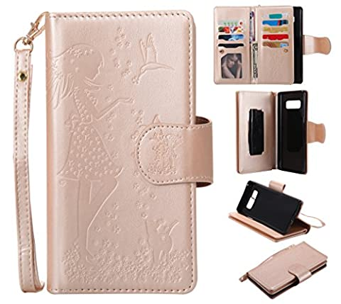 Samsung Galaxy Note 8 Case Leather [Cash and 9 Card Slots], Cozy Hut Elegant Woman and Cat Patterned Embossing PU Leather Stand Function Protective Cases Covers with Card Slot Holder Wallet Book Design Fordable Strap Case for Samsung Galaxy Note 8 6,3 Inch -