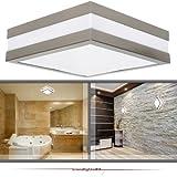 2er Set Wandleuchte Deckenleuchte SAVONA eckig / quadratisch IP44 LED E27 230V für bis zu 2x18 Watt; für Wohnraum, Bad, Flur, Wand, Decke; ohne Leuchtmittel