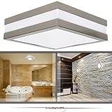 Wandleuchte Deckenleuchte SAVONA eckig / quadratisch IP44 LED E27; 230V Set inkl. 2x 15W LED (je 1350 Lumen); für Wohnraum, Bad, Flur, Wand, Decke; für bis zu 2x18 Watt